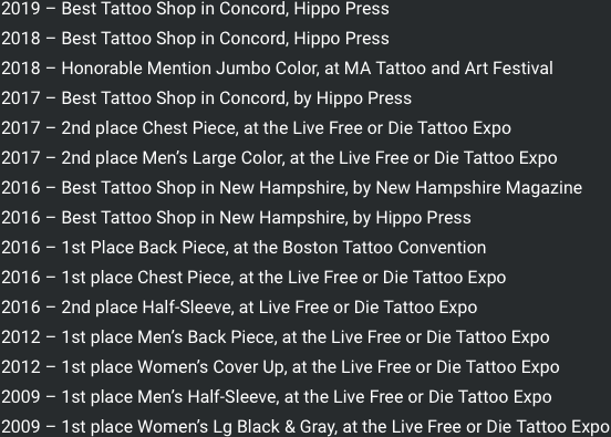 NH Live Free Or Die Expo Award Winner Winning Tattoos MA Sturbridge Tattoo Festival Art Boston Convention Winner Sean Ambrose 2009 2010 2011 2012 2013 2014 2015 2016 2017 2018 2019 2020
