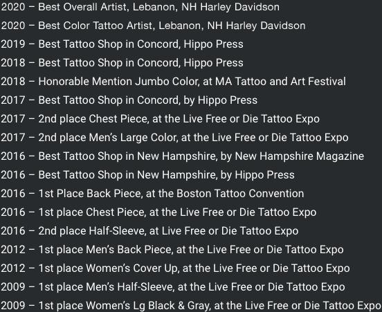 Best Tattoo Artist New England NH Artist Color Backpiece Hippo Press New Hampshire Magazine First Place 1st Winner The Best Tattoos