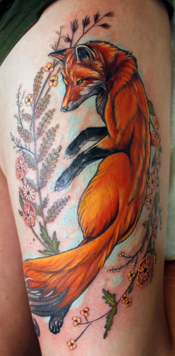 Custom realistic colorful botanical Fox and fern tattoo by Sean Ambrose of Arrows and Embers Tattoo in Concord, New Hampshire (NH). Sean specializes in realism and surrealism custom Tattoos. He has been awarded as the Best Tattoo Artist in NH multiple years from multiple publications, and also won handfuls of awards for his tattoos and art.