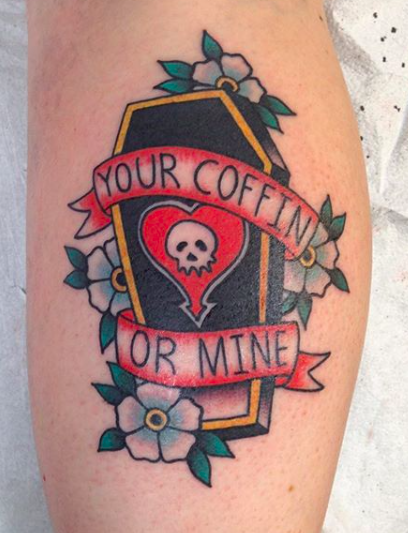 Will Self NH Tattoo Artist Boston Concord Worcester MA Trad Traditional Tattoos Neo-trad NeoTraditional neo-traditional amazing best tattoo artist New England Old School Japanese Americana American Tattooing Style coffin your coffin or mine love gothic heart skull