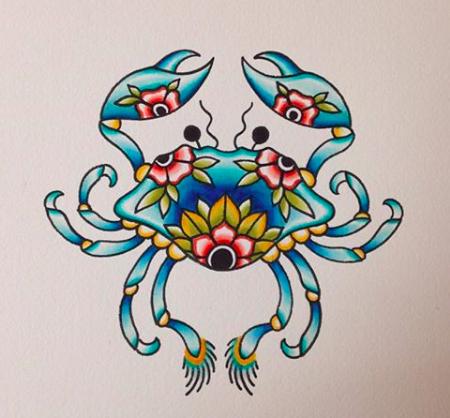 Will Self NH Tattoo Artist Boston Concord Worcester MA Trad Traditional Tattoos Neo-trad NeoTraditional neo-traditional amazing best tattoo artist New England Old School Japanese Americana American Tattooing Style crab