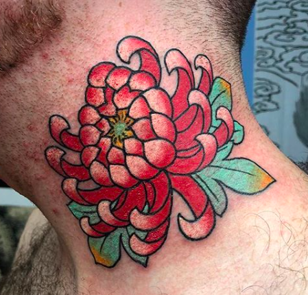 Will Self NH Tattoo Artist Boston Concord Worcester MA Trad Traditional Tattoos Neo-trad NeoTraditional neo-traditional amazing best tattoo artist New England Old School Japanese Americana American Tattooing Style peony flower florals neck tattoo