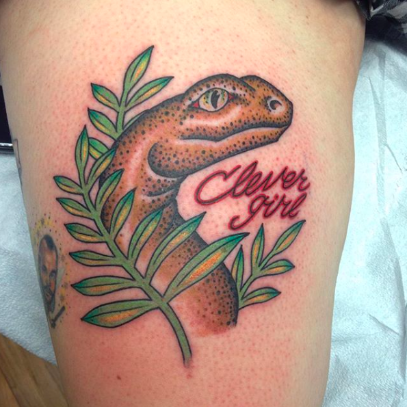 Will Self NH Tattoo Artist Boston Concord Worcester MA Trad Traditional Tattoos Neo-trad NeoTraditional neo-traditional amazing best tattoo artist New England Old School Japanese Americana American Tattooing Style mashup clarice raptor jurassic world jurassic park dinosaur meme tattoo silence of the lambs