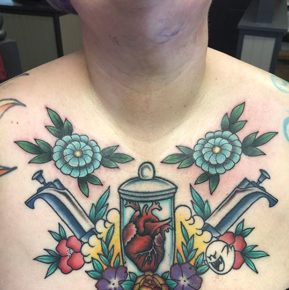 Will Self NH Tattoo Artist Boston Concord Worcester MA Trad Traditional Tattoos Neo-trad NeoTraditional neo-traditional amazing best tattoo artist New England Old School Japanese Americana American Tattooing Style syringes heart flowers