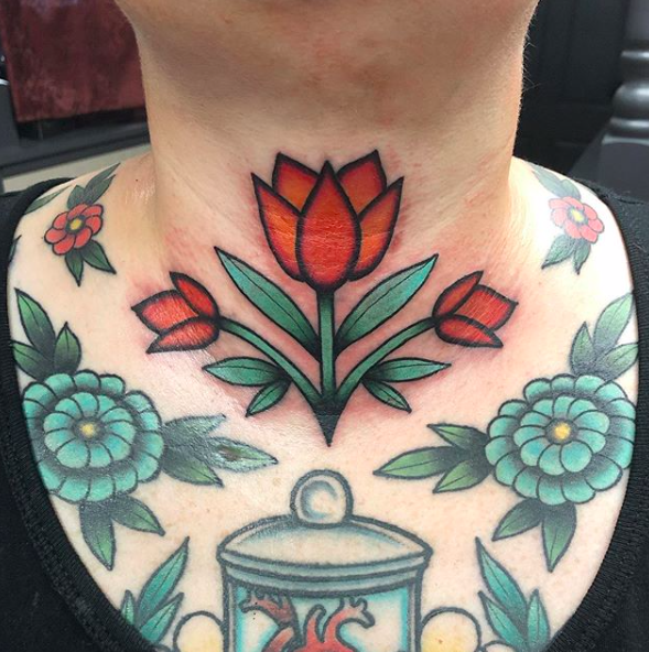Will Self NH Tattoo Artist Boston Concord Worcester MA Trad Traditional Tattoos Neo-trad NeoTraditional neo-traditional amazing best tattoo artist New England Old School Japanese Americana American Tattooing Style rose throat neck chest