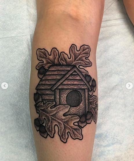Will Self NH Tattoo Artist Boston Concord Worcester MA Trad Traditional Tattoos Neo-trad NeoTraditional neo-traditional amazing best tattoo artist New England Old School Japanese Americana American Tattooing Style birdhouse acorn leaves fall
